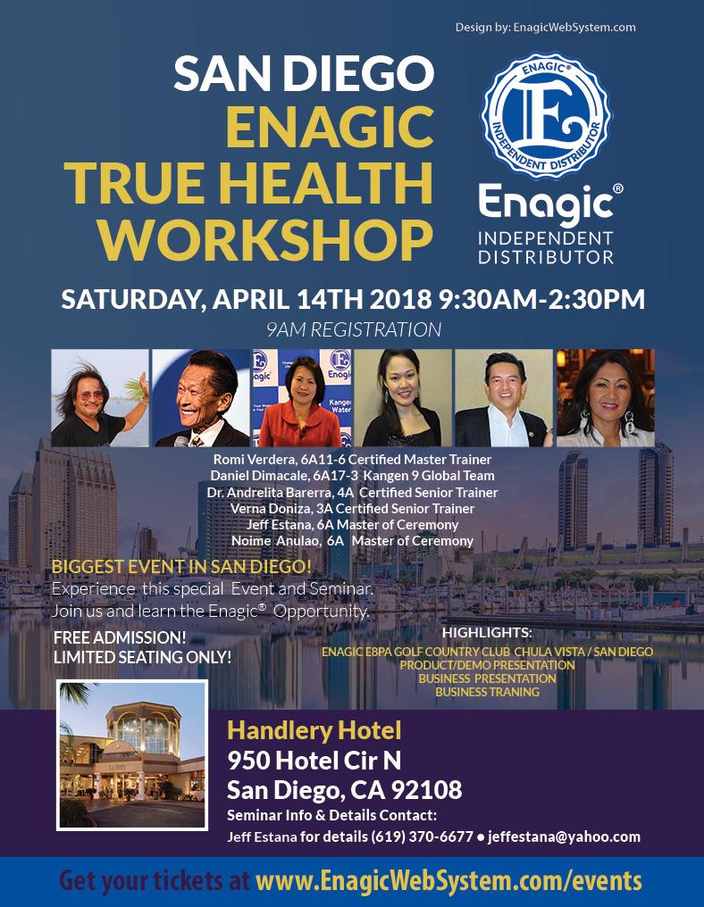 Enagic True Health Workshop – San Diego