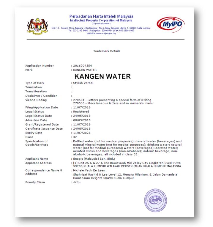 Certificate Of Trademarks | 'Kangen Water' Under Class 32