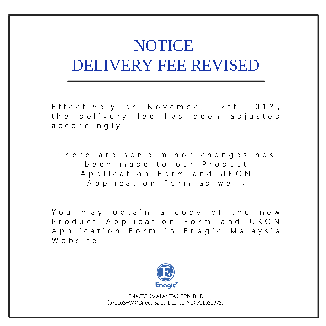 NOTICE: Delivery Fee Revised