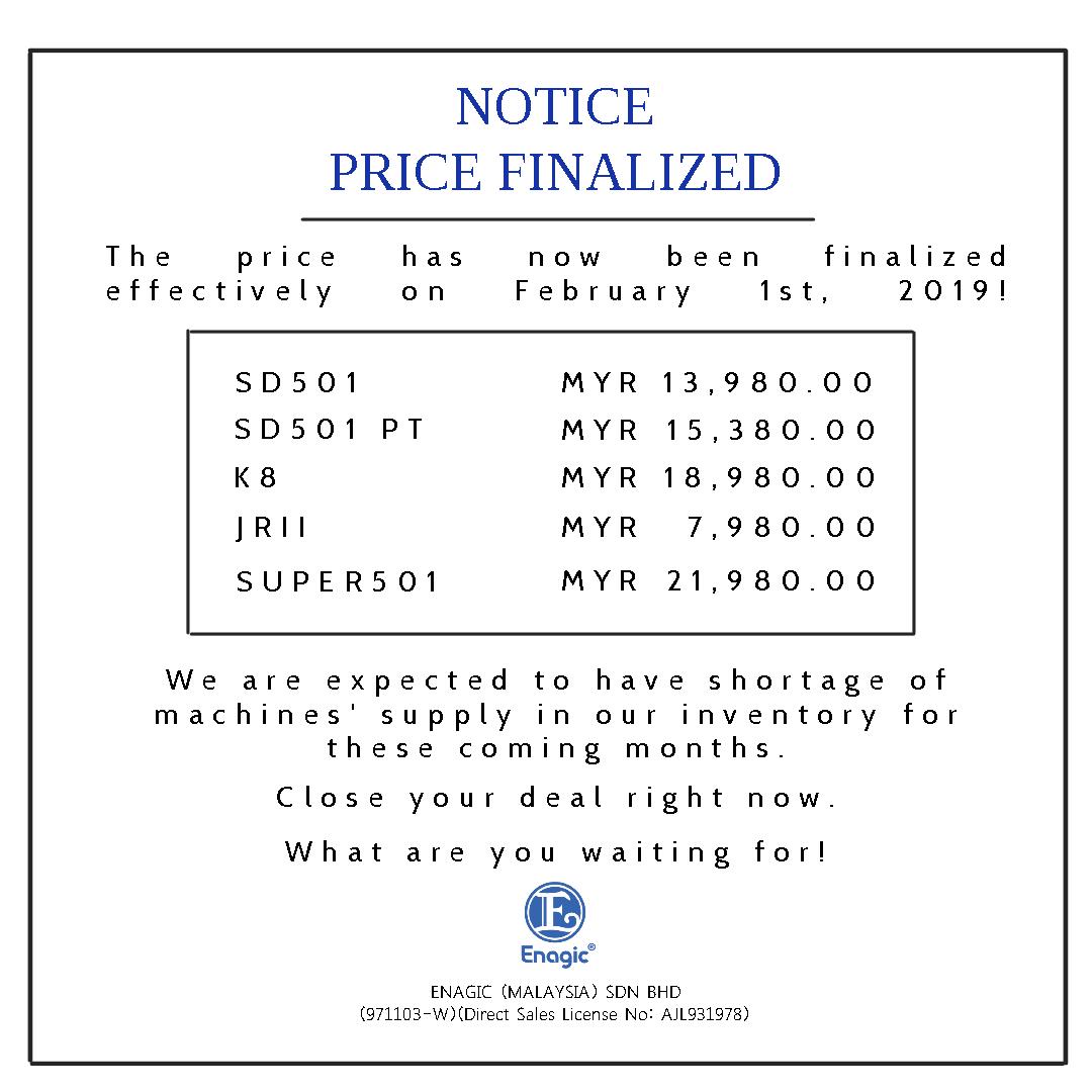 NOTICE | Price Finalized