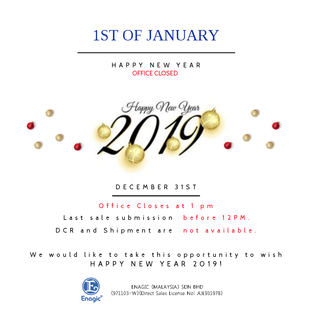 NOTICE : Happy New Year 2019 (Office Closed)