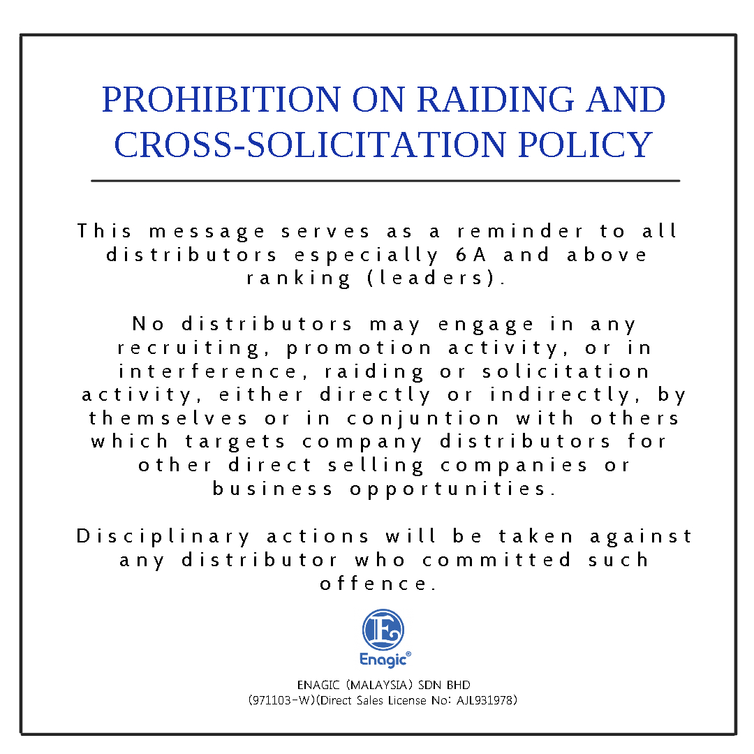 Prohibition On Raiding And Cross-Solicitation Of Products Or Other MLM And/or Business Opportunities
