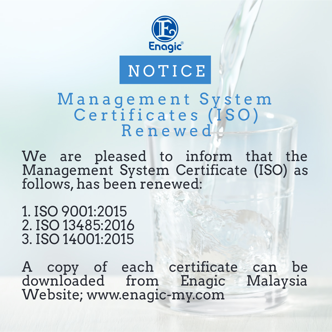 NOTICE | Management System Certificates (ISO) – Renewed