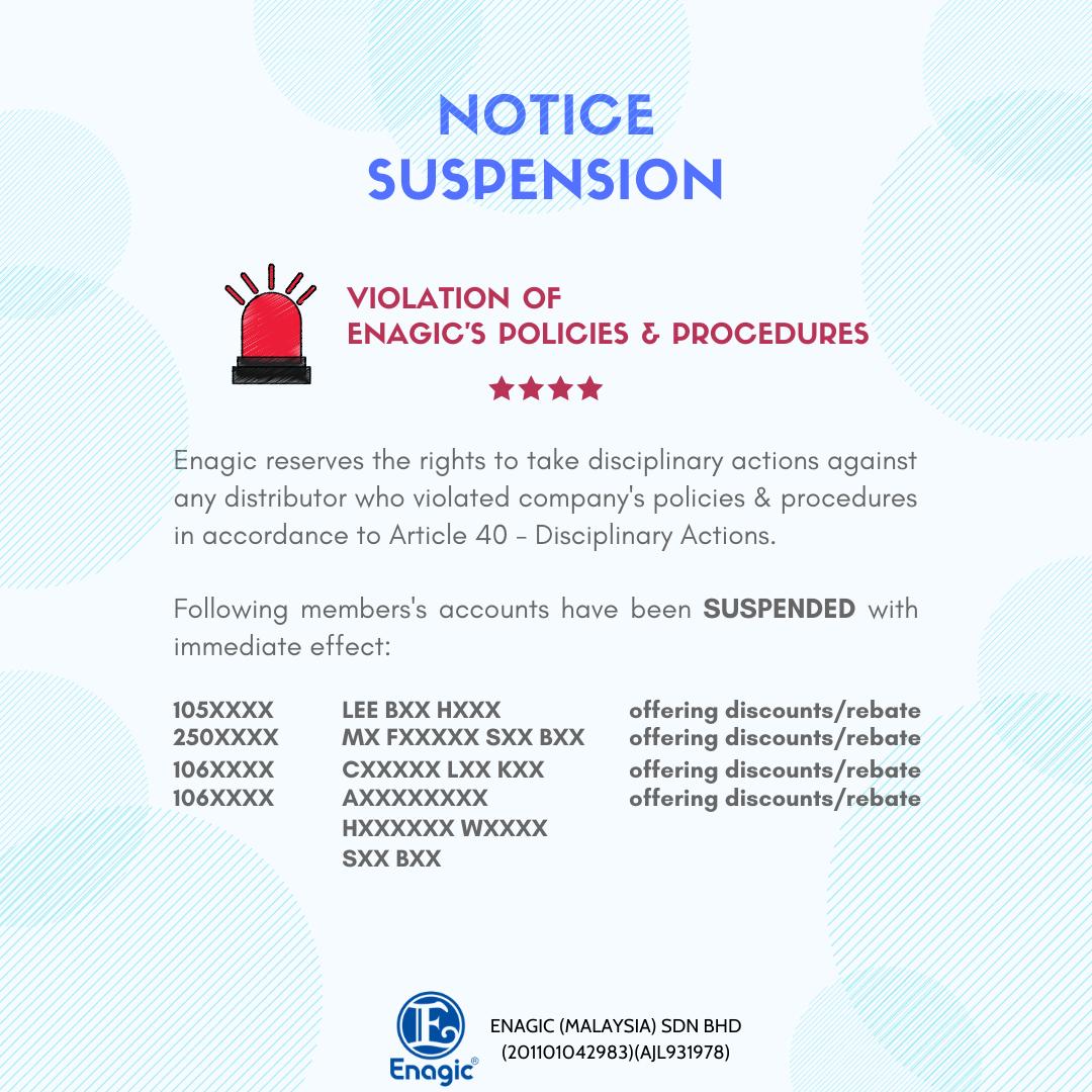 NOTICE | Suspension (Violation Of Enagic's Policies & Procedures)