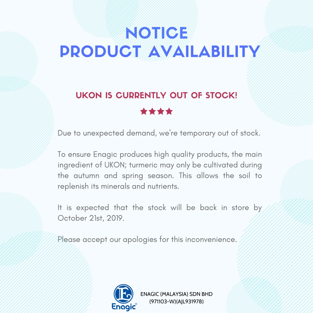 NOTICE | UKON Is Currently Out Of Stock!