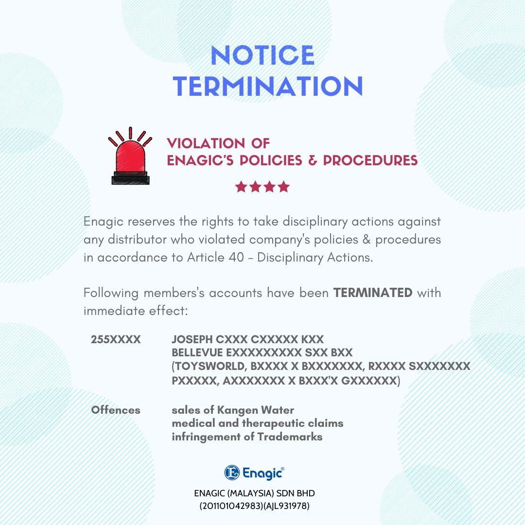 NOTICE | Termination (Violation Of Enagic's Policies & Procedures)