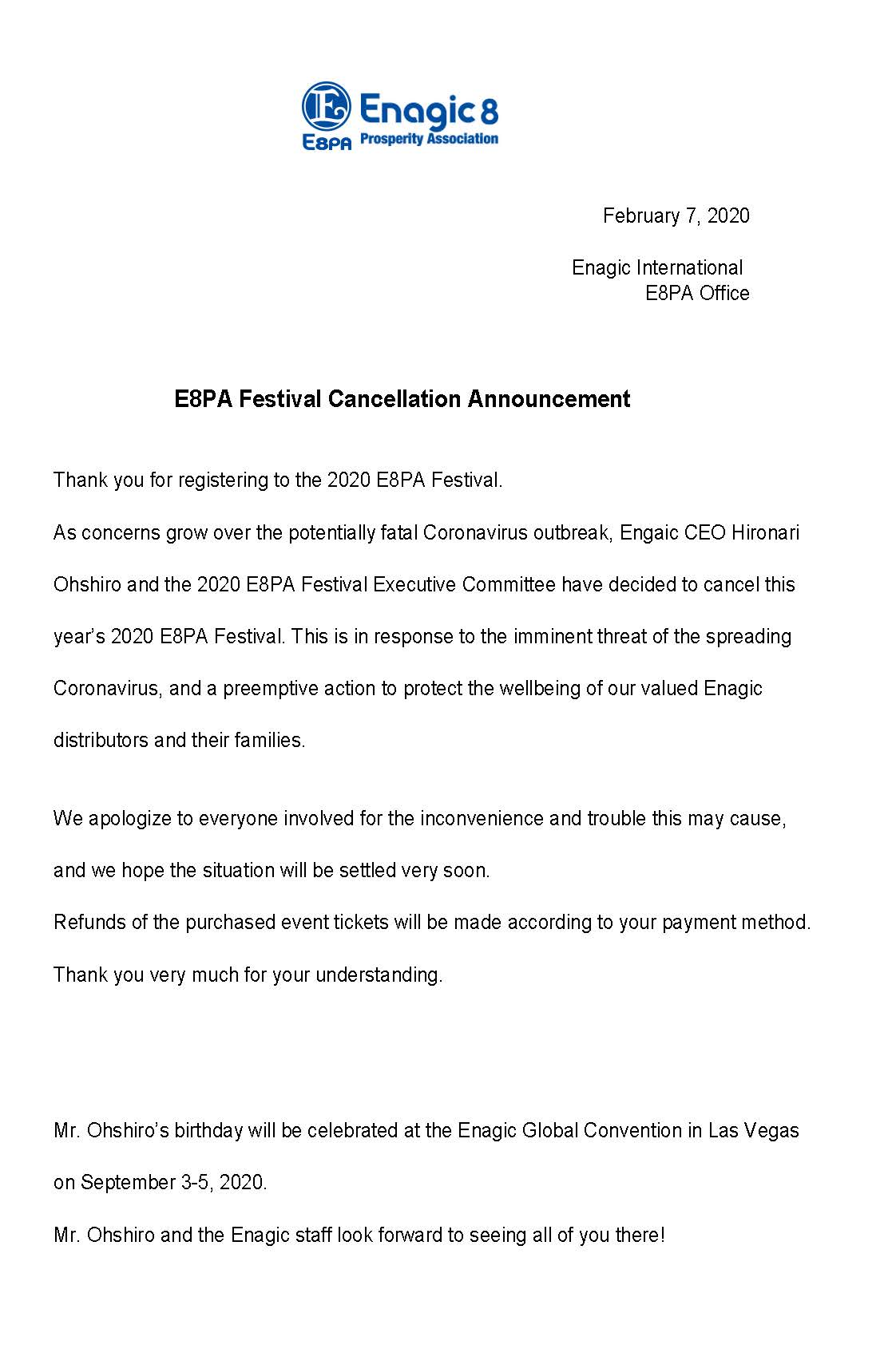 E8PA Festival Cancellation Announcement