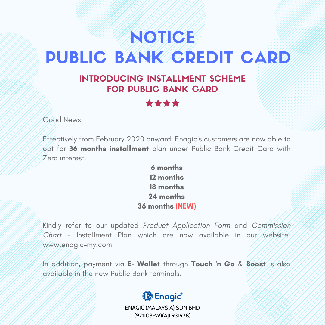 NOTICE | Public Bank Credit Card & New Facility