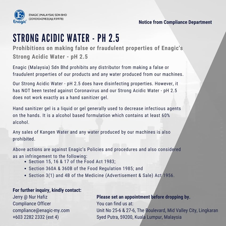 Compliance Notice | Prohibition On Making False Or Fraudulent Properties Of Enagic's Strong Acidic Water – PH 2.5