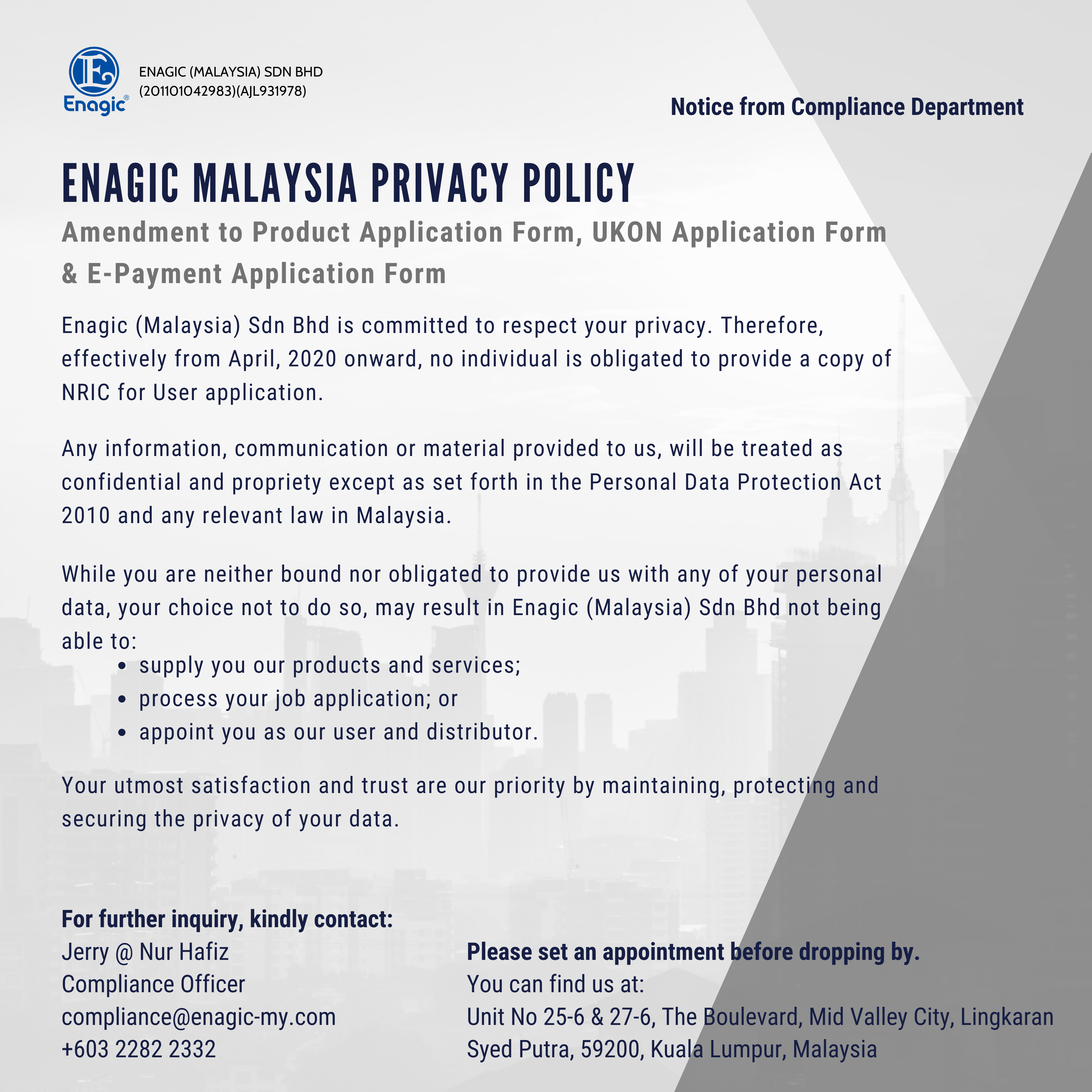 Compliance Notice | New Product Application Form (USER Requires No IC)