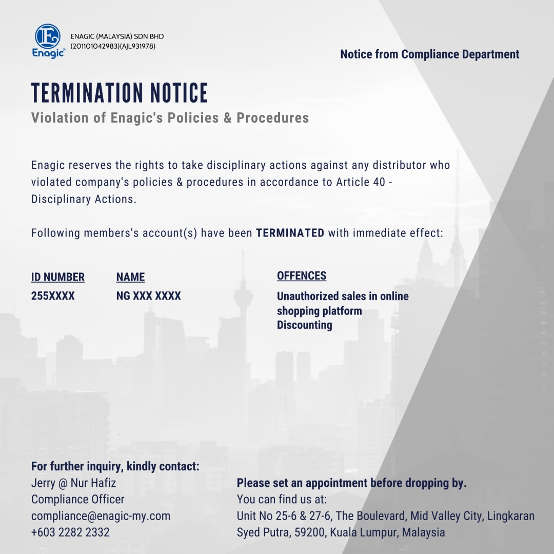 Compliance Notice | Suspension & Termination Of Account