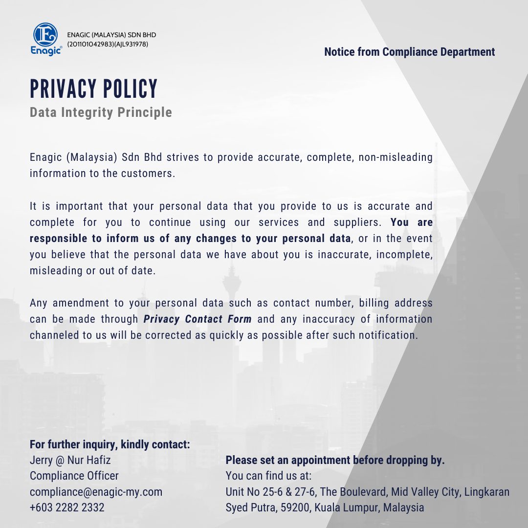 Compliance Notice | Privacy Policy (Data Integrity Principle)