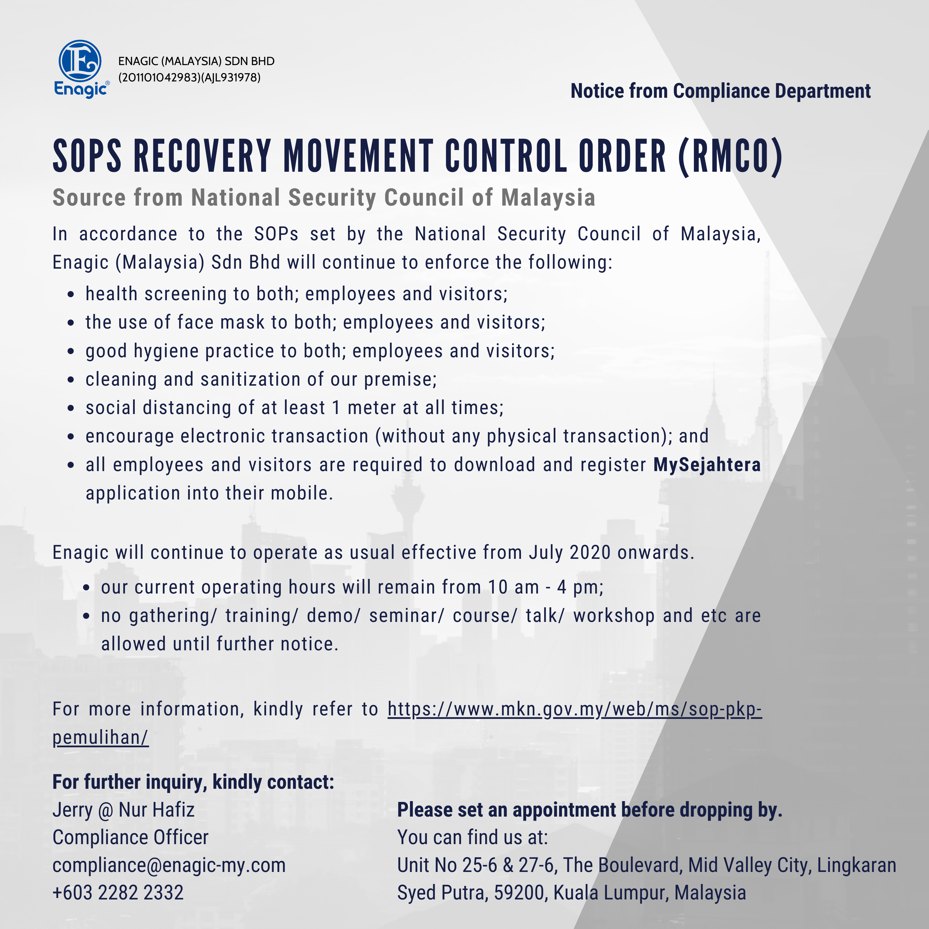 Compliance Notice – SOP Recovery Movement Control Order (RMCO) (4)