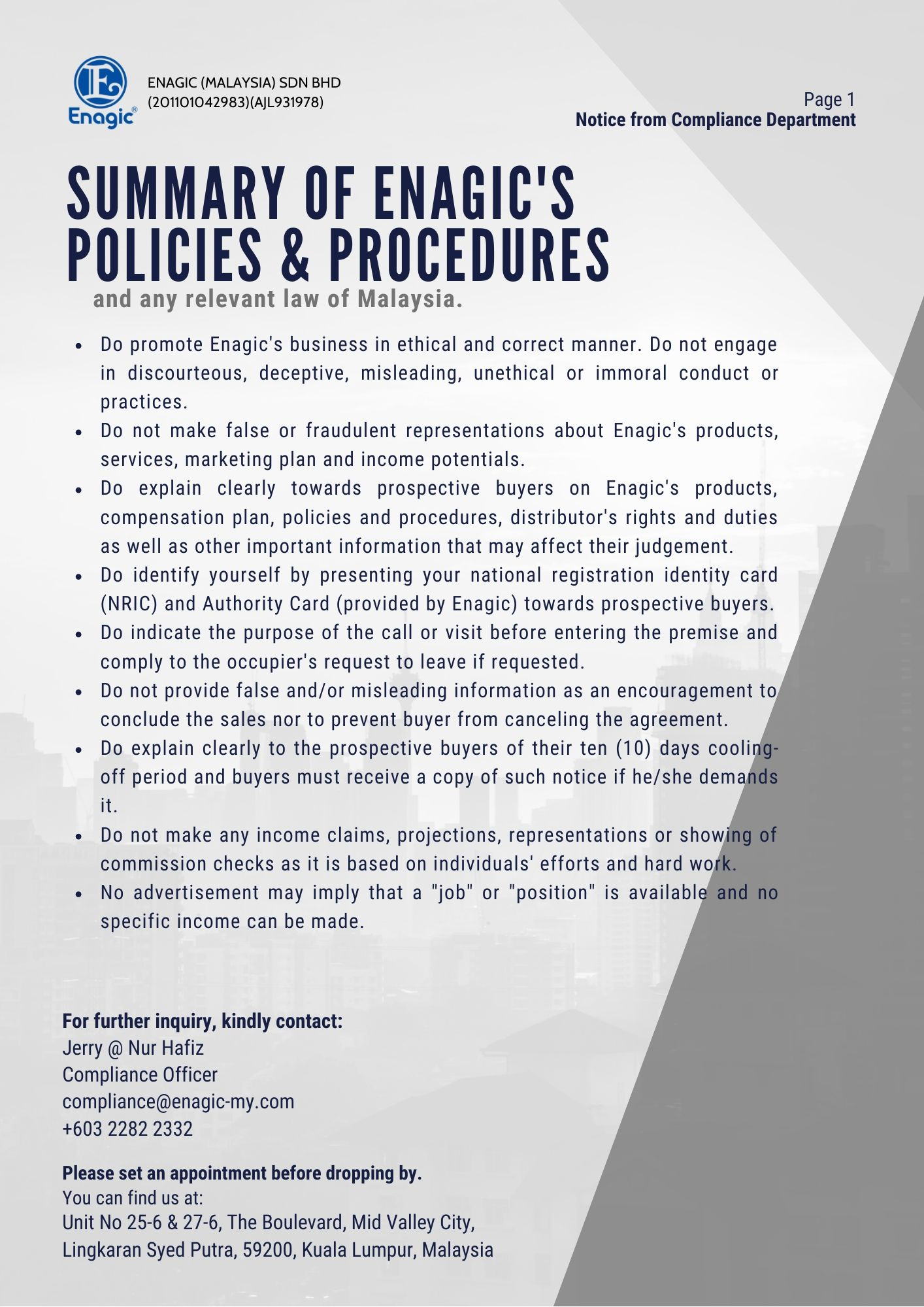 Compliance Notice | Summary Of Enagic's Policy And Procedures