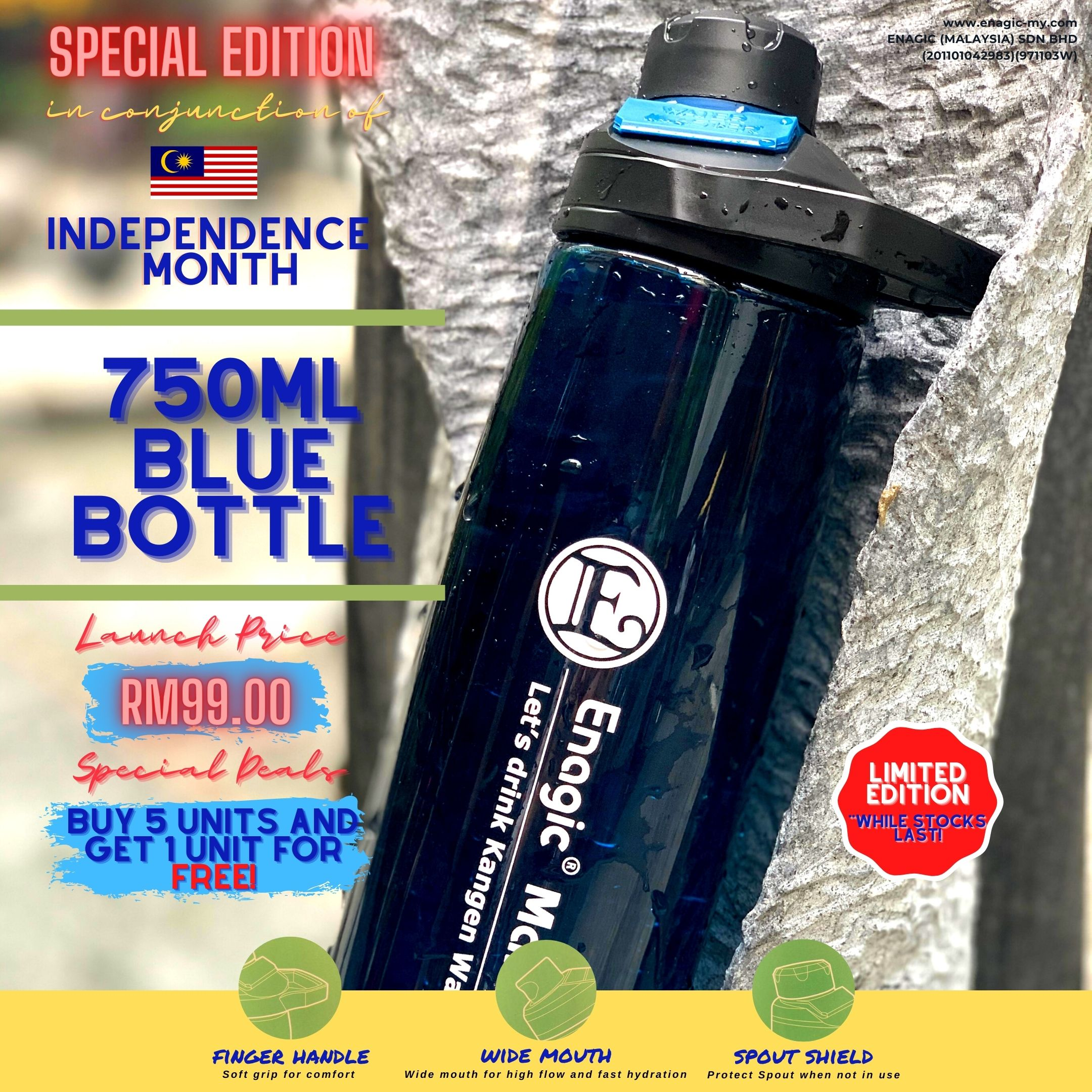 Latest Edition – Drinking Bottle (750ml Blue Bottle)