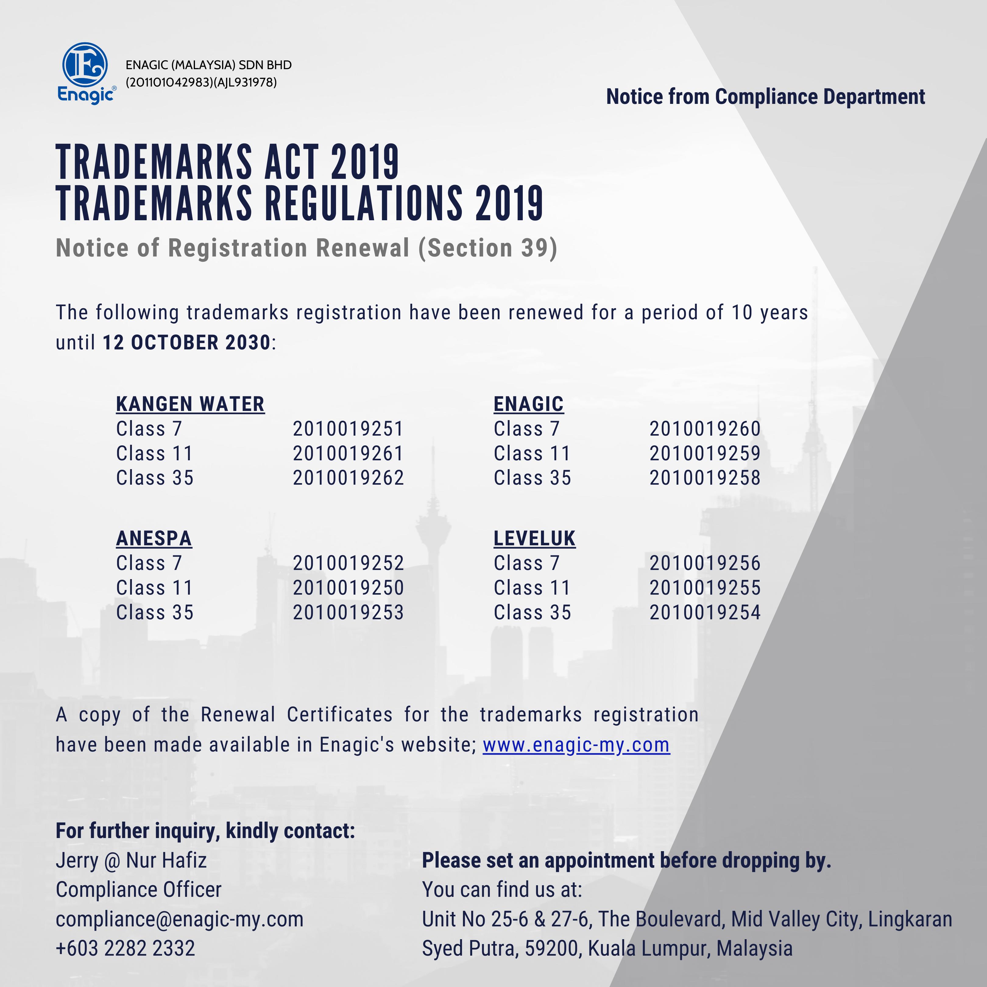 Compliance Notice – Trademark Renewal