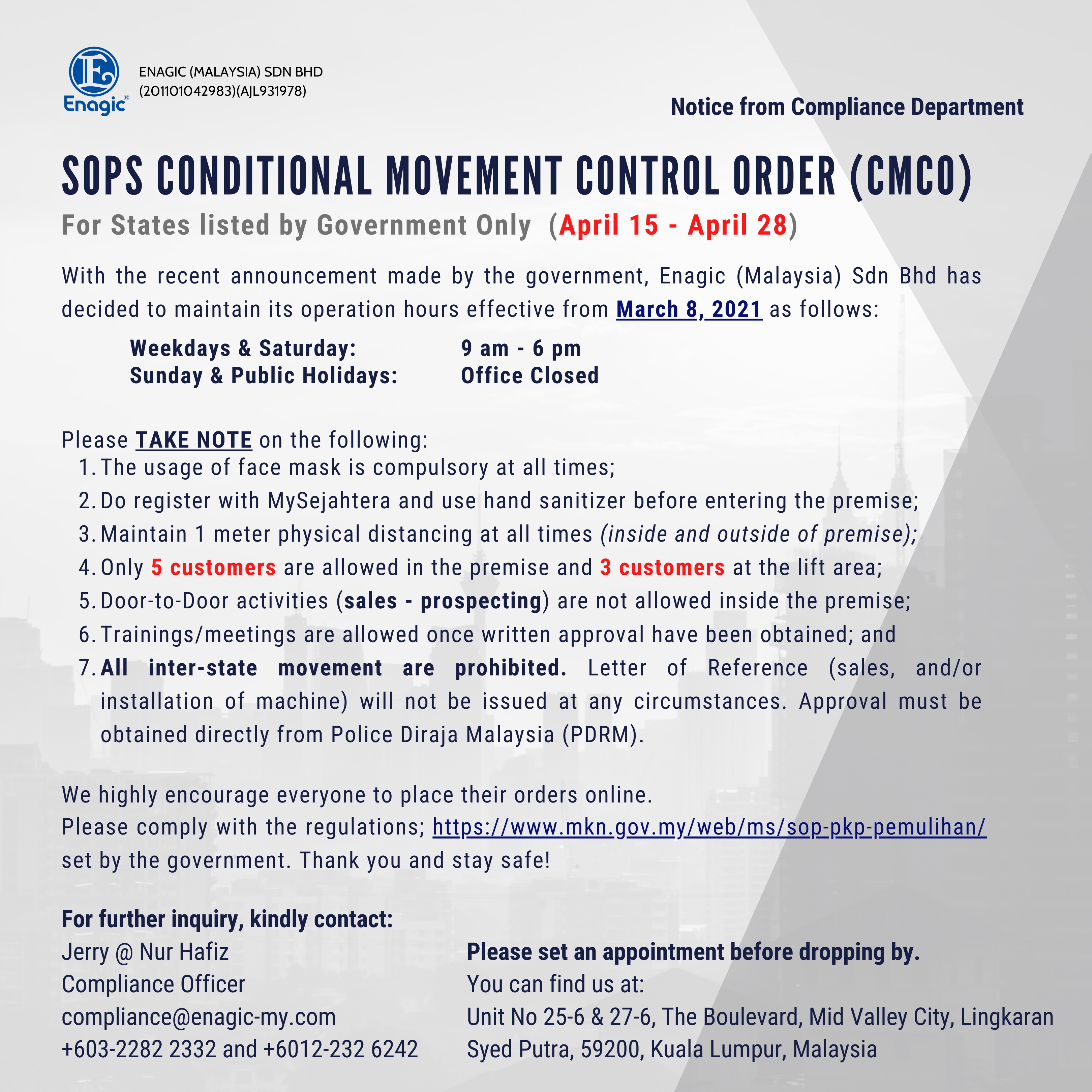 SOPs Conditional Movement Control Order (CMCO)