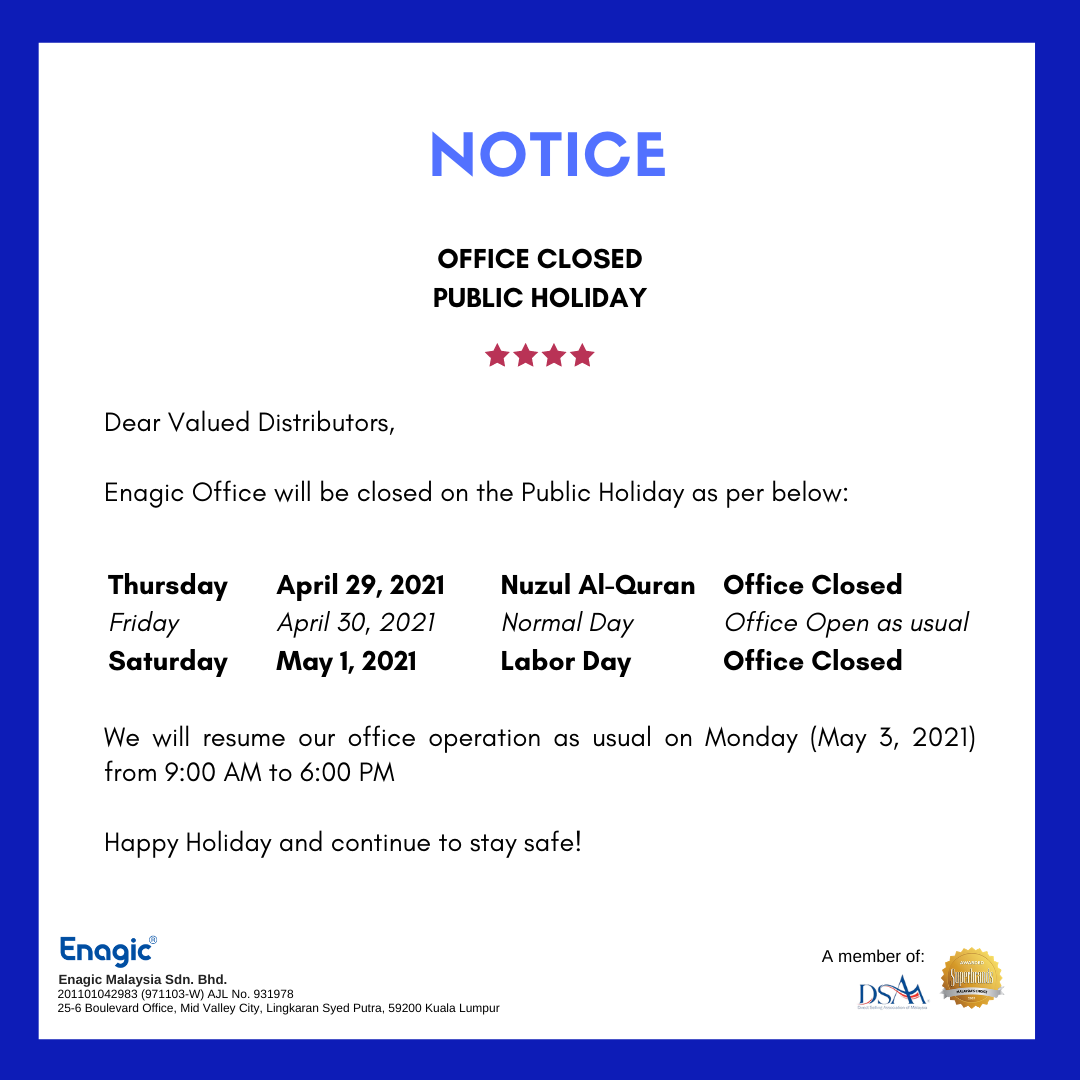 NOTICE | Office Closed (Public Holiday)