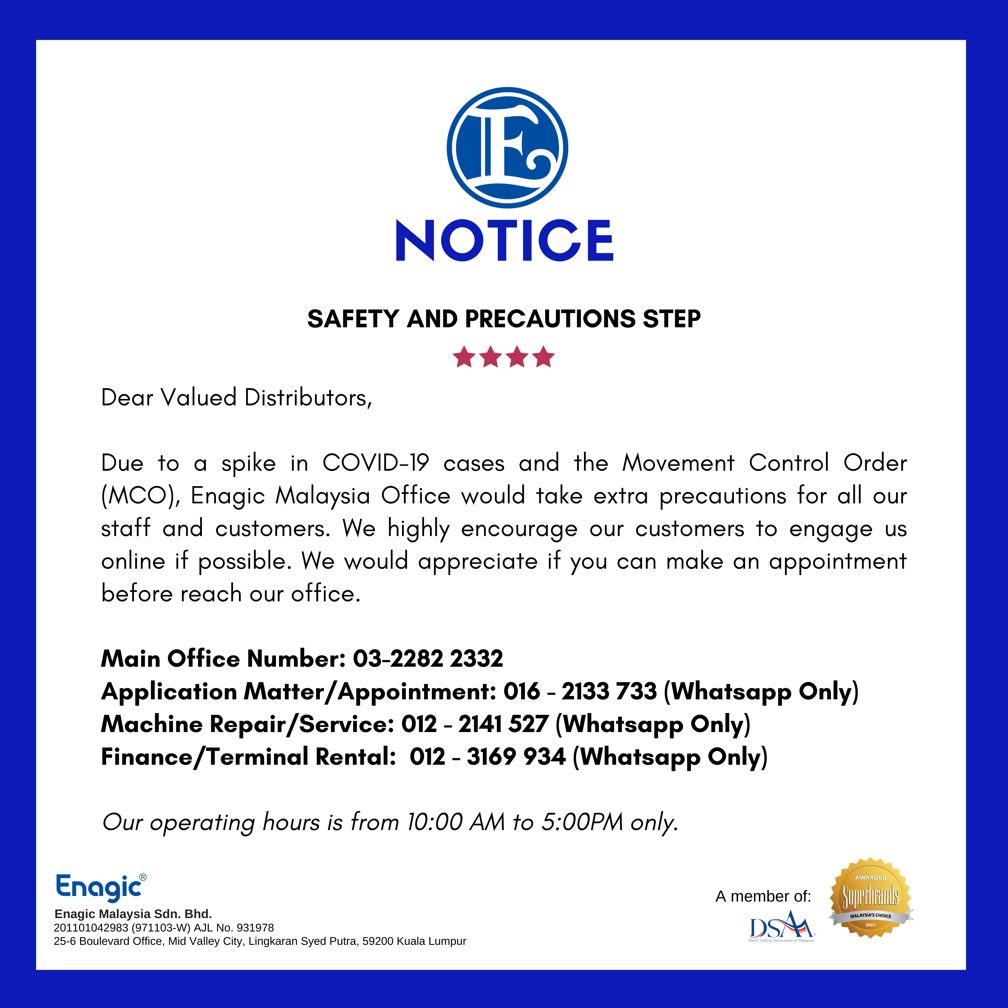 NOTICE | Safety And Precautions Step