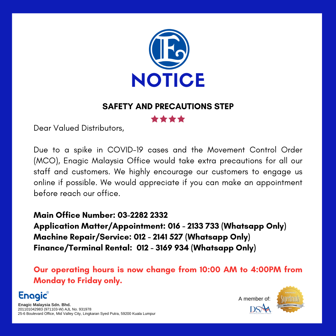 NOTICE | Safety And Precautious Step (Business Hour Update)