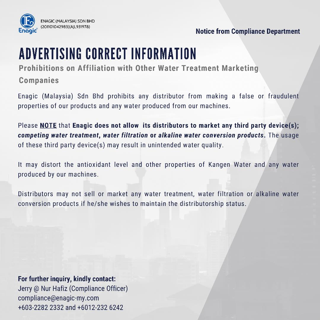 Advertising Correct Information – Prohibition On Affiliation With Other Water Treatment Marketing Companies.