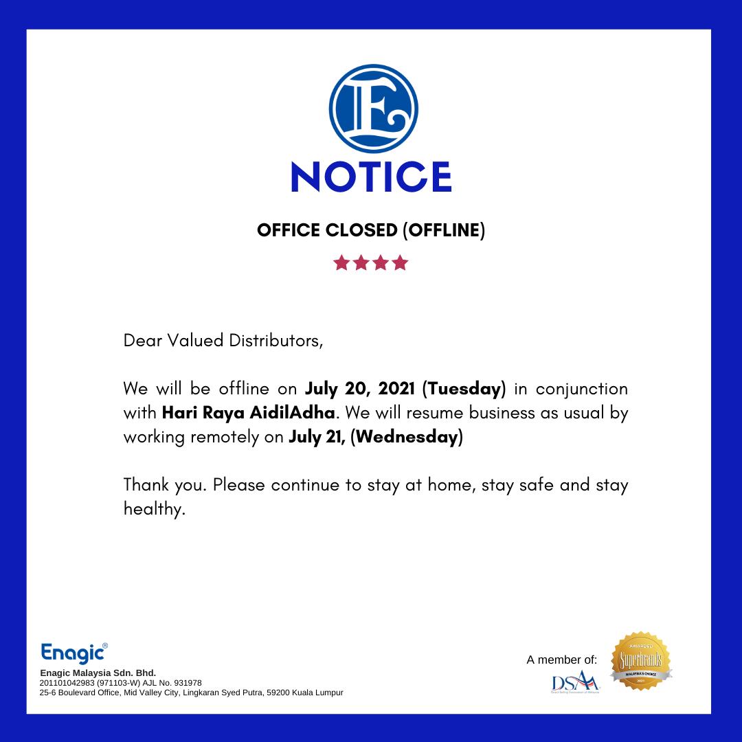Office Close (Offline) – Hari Raya AidilAdha